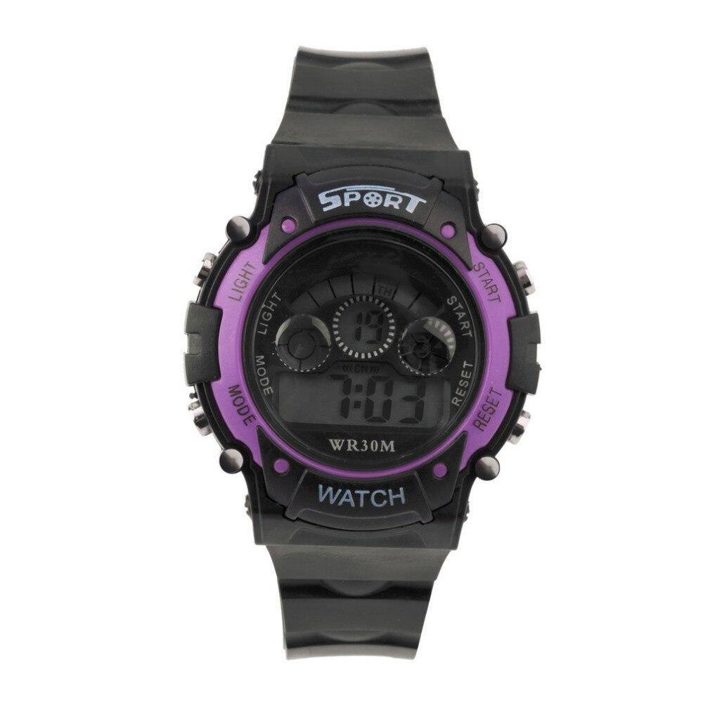 71a06009f Multifuncional para hombre impermeable electrónica reloj Digital para  deportes elegante Color púrpura reloj Venta caliente nuevo