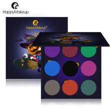 9 Colors Eyeshadow Palette Shimmer Matte Glitter Foiled EyeShadow in One Blush Makeup Set for halloween Party