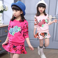 New arrive cotton kids Girls Clothing Sets Long Sleeve Rose Floral T Shirt and skirt  Girl clothes 3 colors