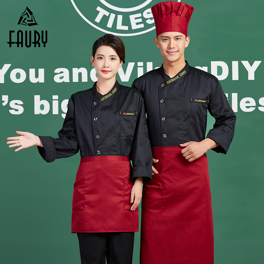 New Chinese Chef Restaurant Work Jackets Long Sleeve Kitchen Clothes Single Breasted Waiter Waitress Overalls Cuisine Coat Tops