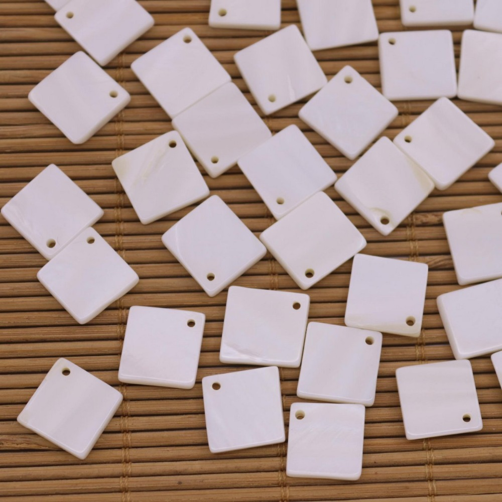 Купить с кэшбэком 50 PCS 12mm Square Shell Natural White Mother of Pearl Charms Pendants