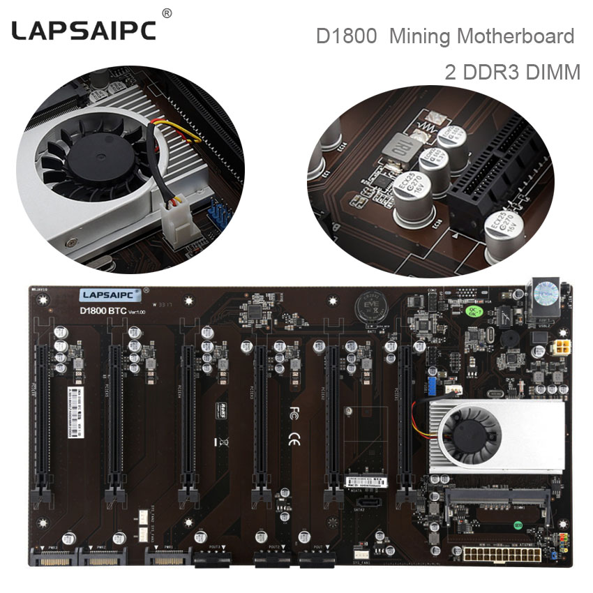 Lapsaipc D1800 Mining Motherboard Support 6 cards All Solid State Capacitor + CPU Mining Machine D1800-BTC mainboard DDR3 DIMM