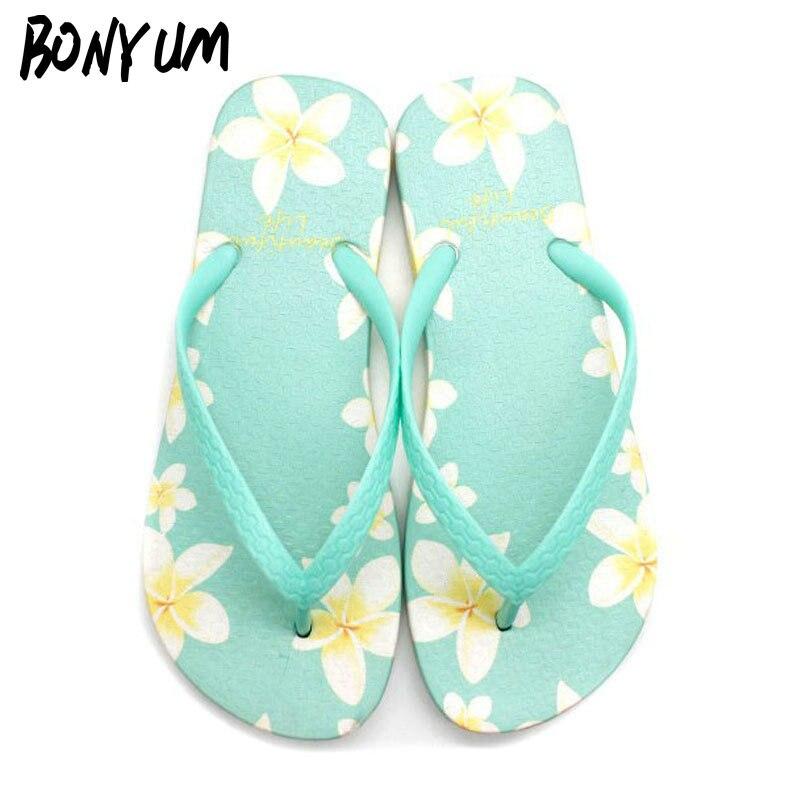 BONYUM Summer Print Flowers Flip Flops Women Flat Non-slip Indoor House Bathroom Home Slippers Boho Shoes Beach Slides T1726 beach house