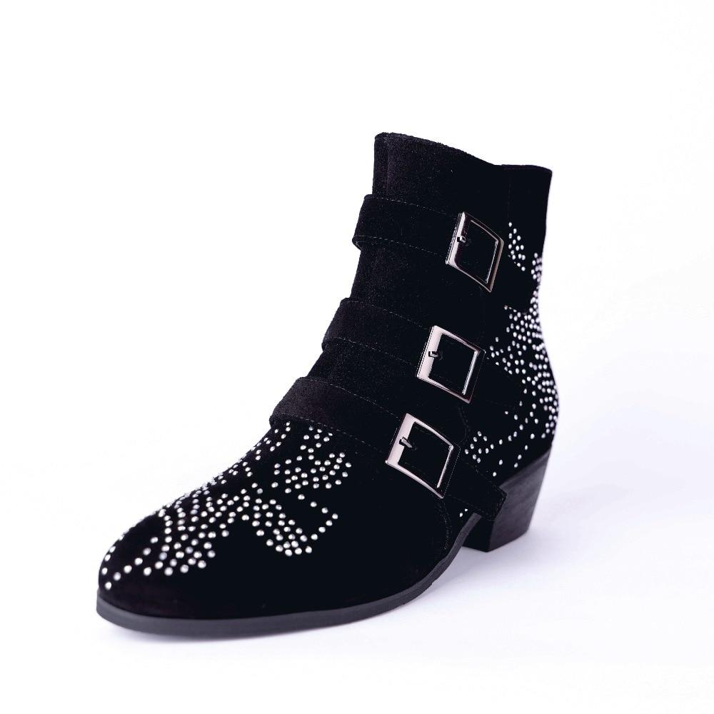 Talons Sangle Courtes Femmes 2019 Glissière Boucle De Furtado Arden Cristal Bottines Orteil D'hiver Épais Chaussures Black Strass Pointu QdsxrhotCB