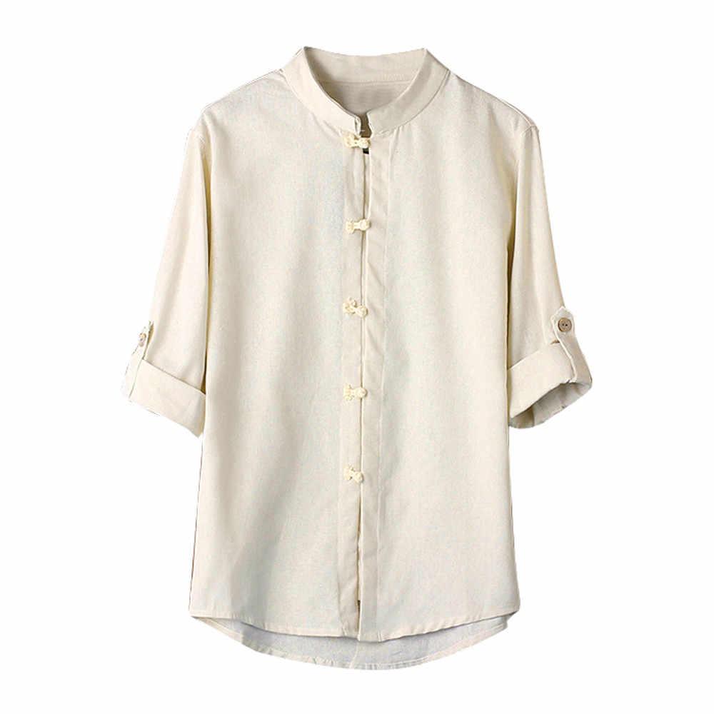男性古典的な中国風のカンフーシャツトップス唐装 3/4 袖リネンブラウスヴィンテージ黒 Tシャツブランド Tシャツ男性トップス