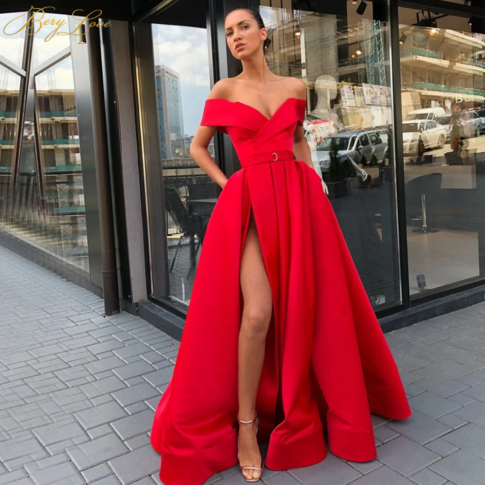 BeryLove Bright Red Formal   Evening     Dress   2020 Side Sleeves Off Shoulder High Slit Gown Long Navy Prom   Dress   Robe De Soire