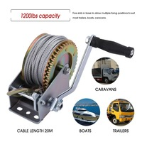 20M Cable Hook Boat 1200lbs Truck Auto Hand Manual Winch Trailer Marine Hand Power Puller Tool Lifting Sling Grip Crank Handle