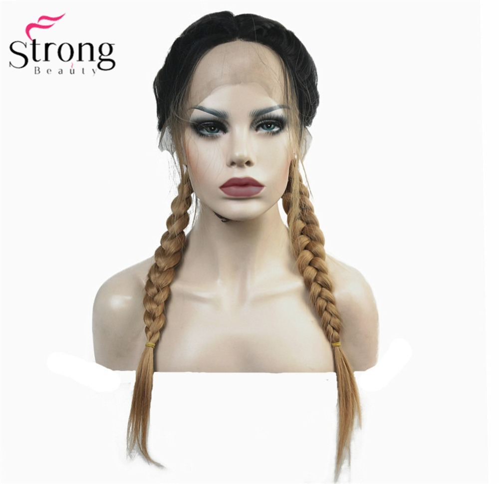 StrongBeauty Synthetic Lace Front Wig Braids Braided Wig Strawberry blond Ombre Hair