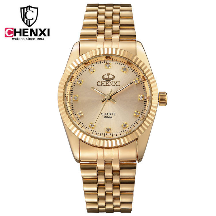 CHENXI Brand Gold Crystal Diamond Full Steel Quartz Wristwatches Wrist Watch Gift for Men Women Lovers Couple 004A
