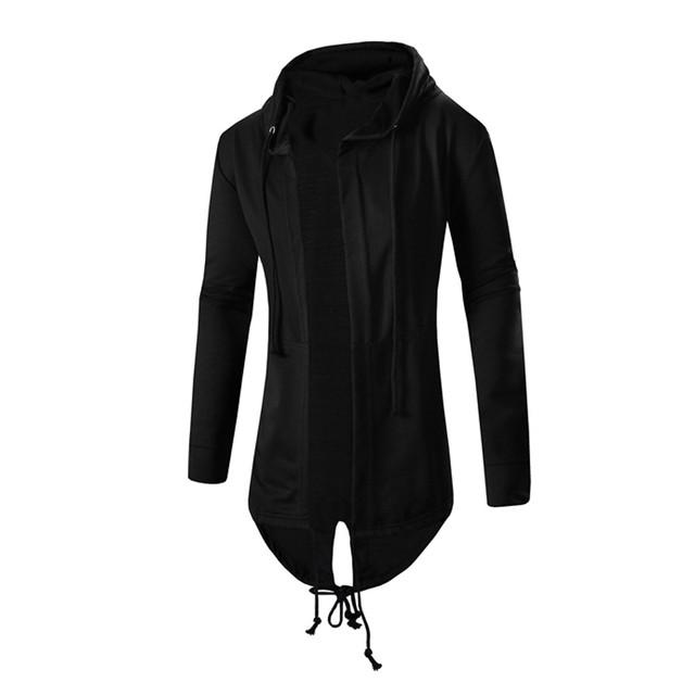 Outono Inverno Sólida Irregular Cardigan Com Capuz Casaco de Trincheira Casual Masculino Slim Fit Topos Manto Blusa Outwear Sobretudo Dec13