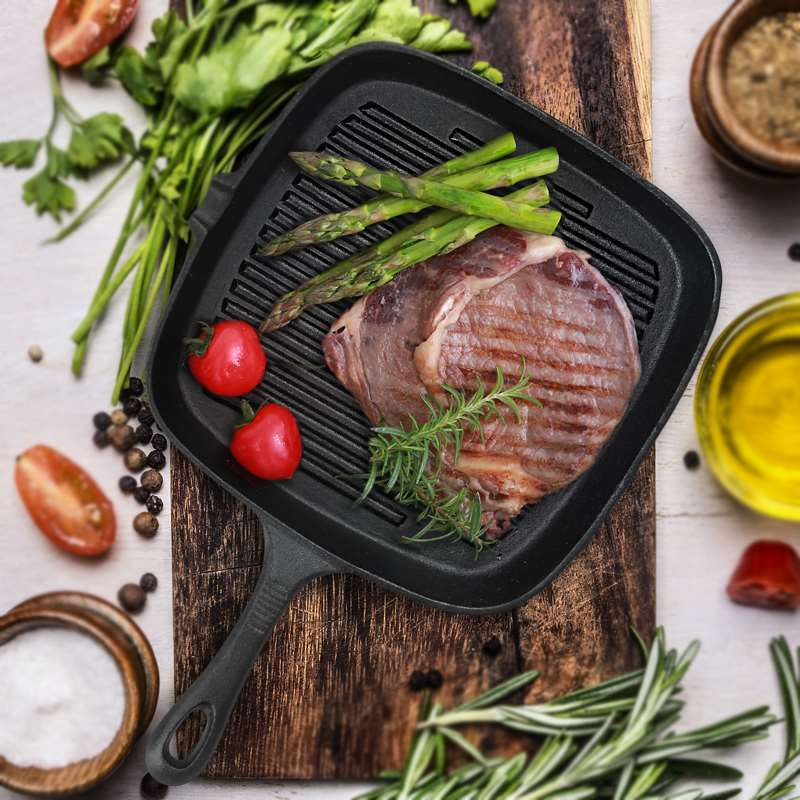 Classic Steak Frying Cast Iron Grill Pan