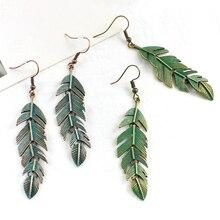 Women Retro Green Leaf Earrings Bohemian Vintage Alloy Dangle Jewelry Trendy Chain New Style Street Hot