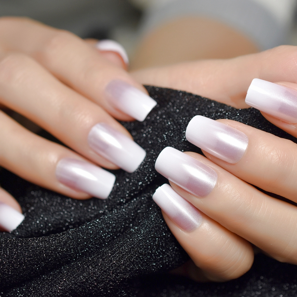 Pearl Shine Glossy Fake Nails Shimmer White Square Ombre French Nail Faux Ongles Gradient Medium Fingernails With Gluetabs