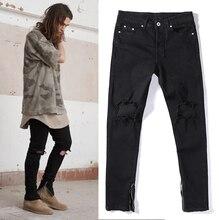Мода новый высокое качество 2016 джинсы мотоцикл черный рок-звезда колено отверстия уничтожено тощий лодыжки молнии джинсы мужские