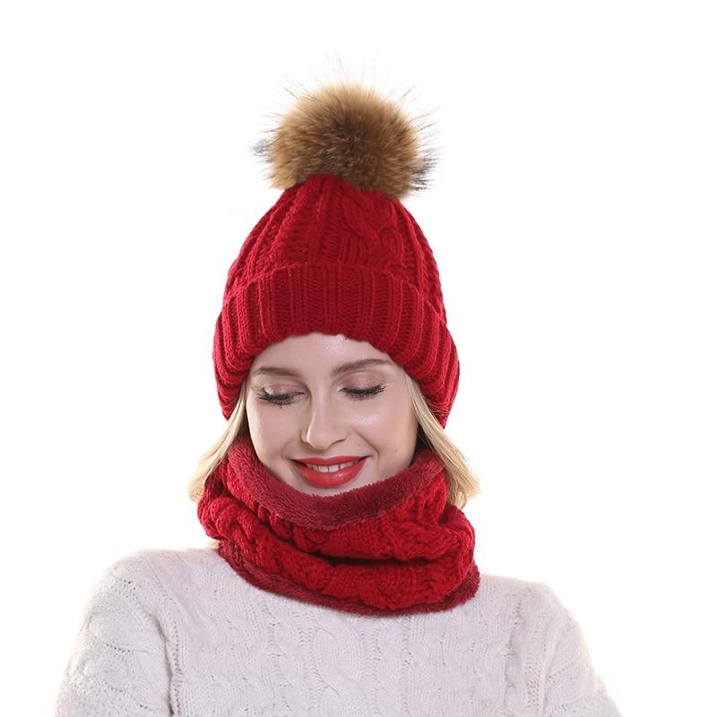 chapeau avec écharpe polaire chaude à l'intérieur bonnet filles