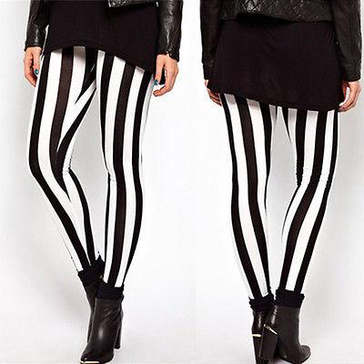 2017 Damenmode Sexy Leggings Vertikale Streifen Stretch Legging Schwarz Und Weiß Spandex Zebra Hosen Für Frauen
