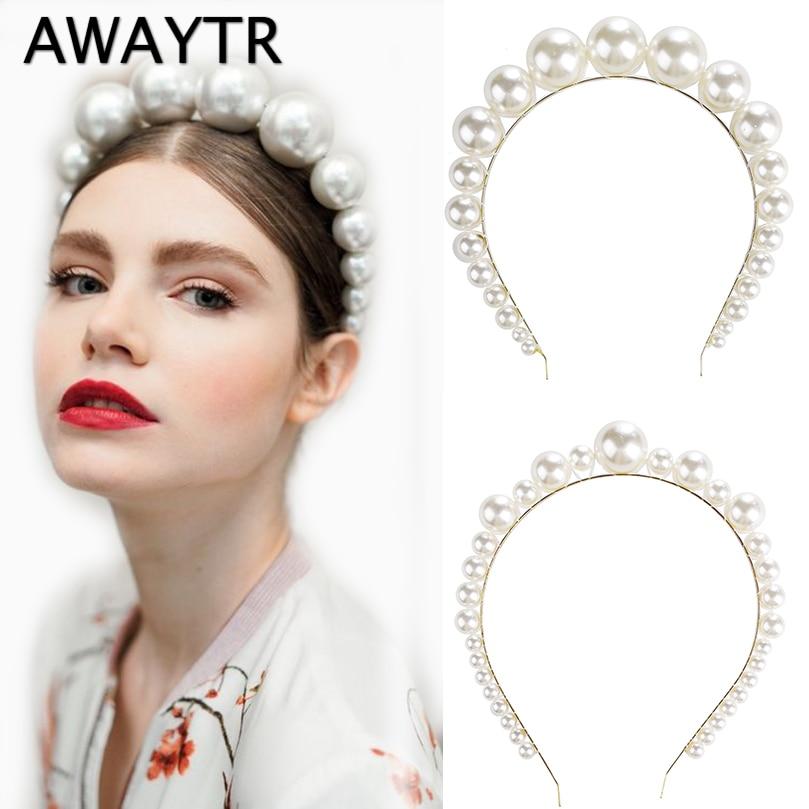 AWAYTR New White Big Pearl Headband For Women Hairband Handmade Bride Wedding Hair Accessories Retro Crown Girls Female Headwear