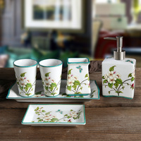 Six piece Bathroom Product Ceramic Bathroom Appliances Tooth brushing Cup Soap Dish Hand Sanitizer Bottle Tray Bathroom Set Gift