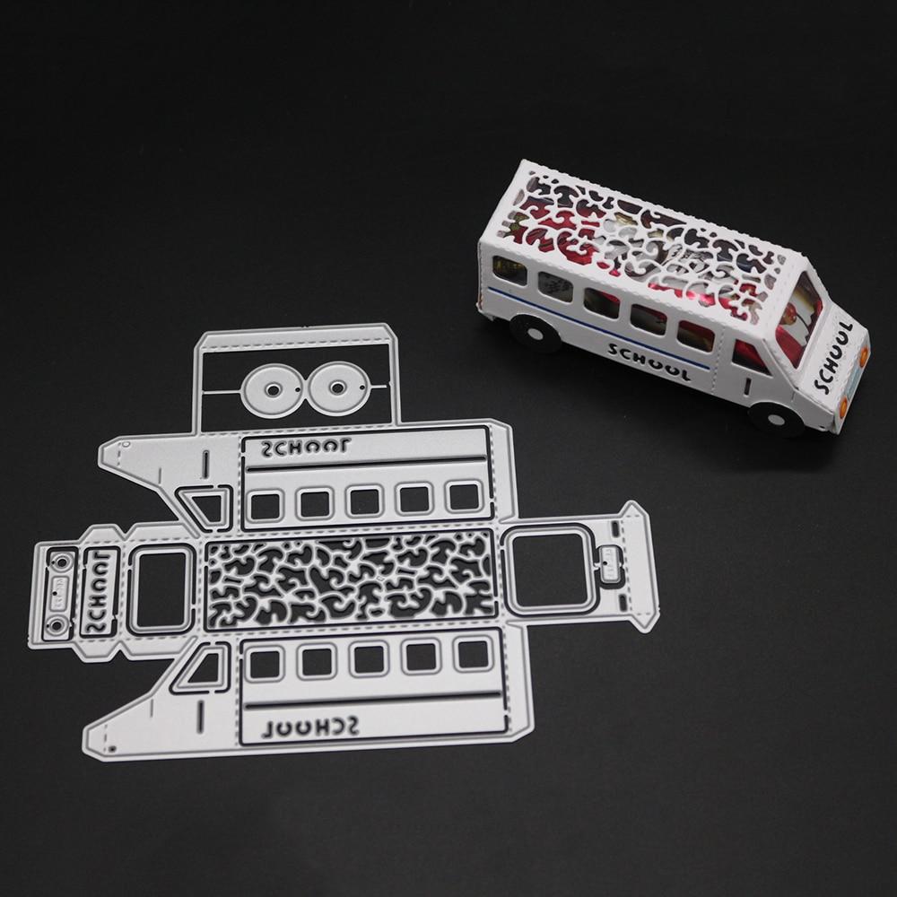 128x162mm New 3D School Bus Car Card Decor Metal Cutting Die DIY Scrapbooking Carbon Craft Die Photo Invitation Cards Decoration