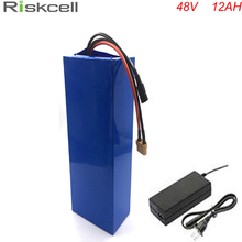 NO Tax  48V 12Ah Electric Bike battery with 54.6v 2A charger for li-ion battery 48V 750W bafang bbs02 Electric Bicycle Battery