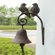 Rustic Iron Hanging Bird Welcome Bell Dinner Metal Crafts Door Wall Mounted Decoration Free Shipping