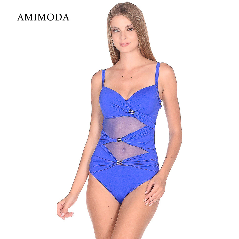 One-Piece Suits Amimoda F6889-40 sportswear accessories fused joint swimsuit for women striped low back one piece swimsuit