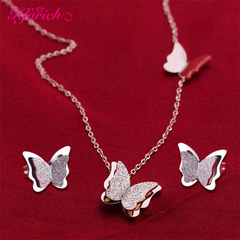 Hfarich Matte Double Butterfly Necklaces for Women Stainless Steel Butterfly Jewelry Fashion Choker Necklaces Collier Gift
