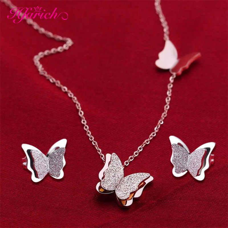 Hfarich matowy podwójny motyl naszyjniki dla kobiet biżuteria motyl ze stali nierdzewnej moda Choker naszyjniki Collier prezent