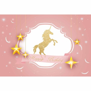 Unicorn Stars Feather Photographic Backdrop