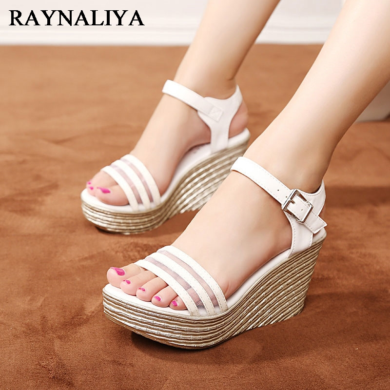 Summer Fashion Gladiator Sexy Women Sandals Platform Shoes Wedges High Heel Open Toe Sandal Ladies Shoes CH-A0065 choudory bohemia women genuine leather summer sandals casual platform wedge shoes woman fringed gladiator sandal creepers wedges