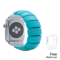 Nova turquesa elástica watchbans para iwatch apple pedra natural pulseira de relógio 38mm 42mm pulseira de relógio feminino Pulseira do relógio     -