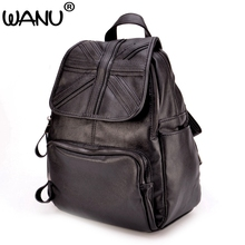 Wanu Для женщин рюкзак Винтаж Рюкзаки для подростков модная одежда для девочек большой Школьные сумки Высокое качество кожа черная сумка Хорошее качество