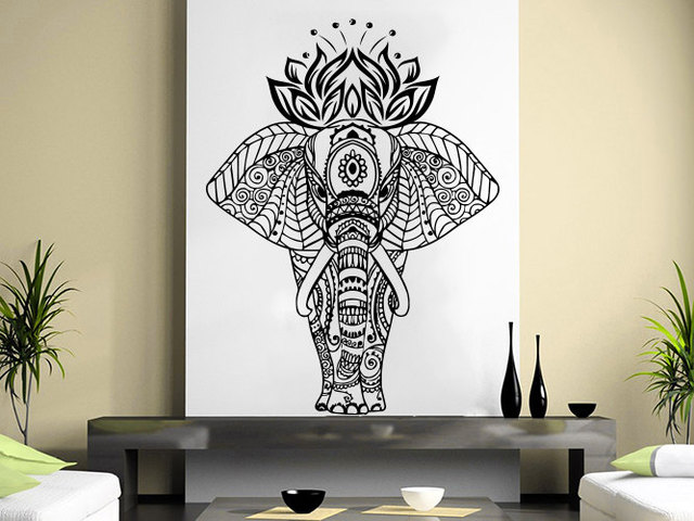 Indian lotus elephant wall decal