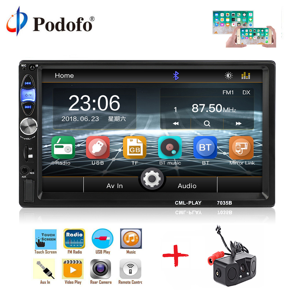 Podofo 2din Car Radio 7 Touch Multimedia Video Player MP5 Autoradio Bluetooth Auto stereo FM AUX USB SD mirrorlink subwooferPodofo 2din Car Radio 7 Touch Multimedia Video Player MP5 Autoradio Bluetooth Auto stereo FM AUX USB SD mirrorlink subwoofer