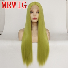 MRWIG fruit green new color 26in 60cm long silky straight synthetic cosplay lace front wig for woman