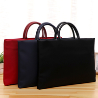 Commercial Business Document Bag A4 Tote File Folder Filing Meeting Bags Side Zipper Pocket Portable Laptop Canvas Bags