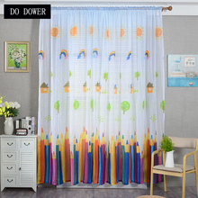 Colorful Pencil Curtains Sheer Voile Children Cartoon Tulle For Living Rooms Bedrooms Home Decoration