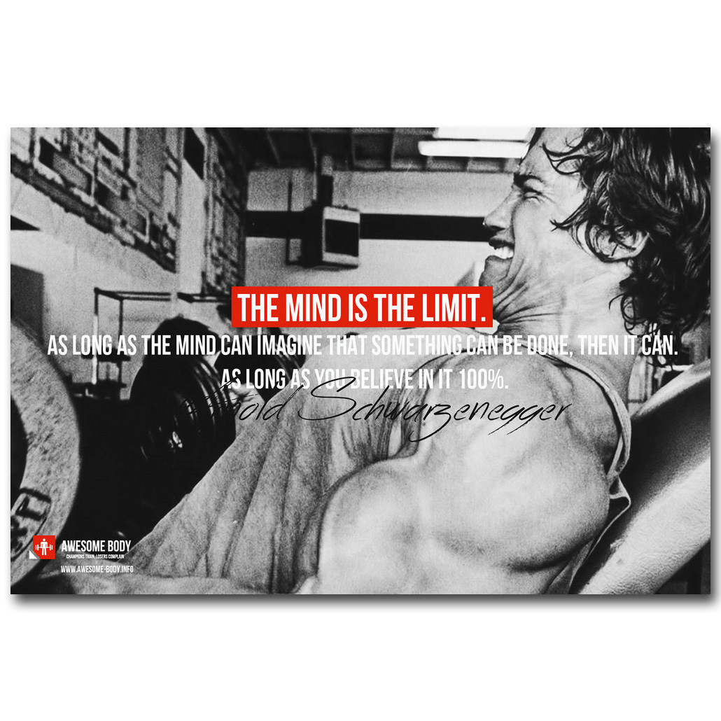 Xxxl Poster Arnold Schwarzenegger Bodybuilding Motivational Quote Art Silk