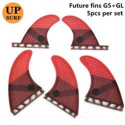 مجموعة زعنفة 5 قطعة/4 قطعة زعنفة زعنفة زعنفة المستقبل G5 + GL زعنفة لوح التزلج من الألياف الزجاجية على شكل قرص العسل رباعي الزعانف