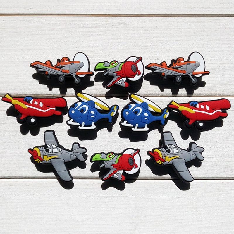 Single Sale 1pc Planes PVC Shoe Charms Shoe Accessories Shoe Decoration Shoe Buckles Accessories Fit Bands Bracelets Croc JIBZ