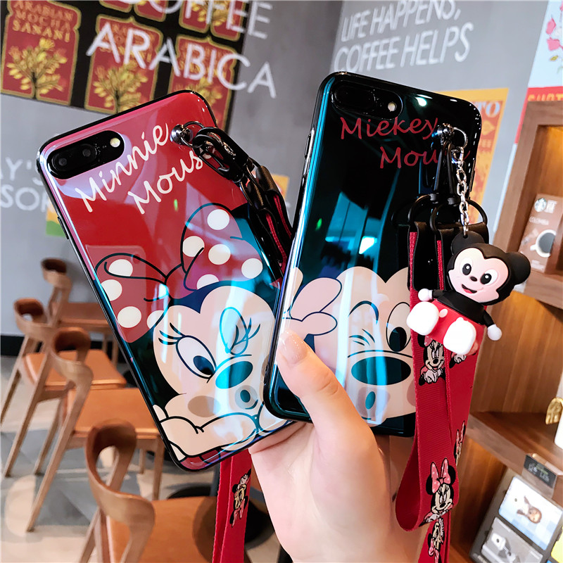 For Ihone 8 8plus x mobile phone shell female 6 6S Korea iPhone7 lanyard x phone case mickey mouse minnie mouse XS MAX
