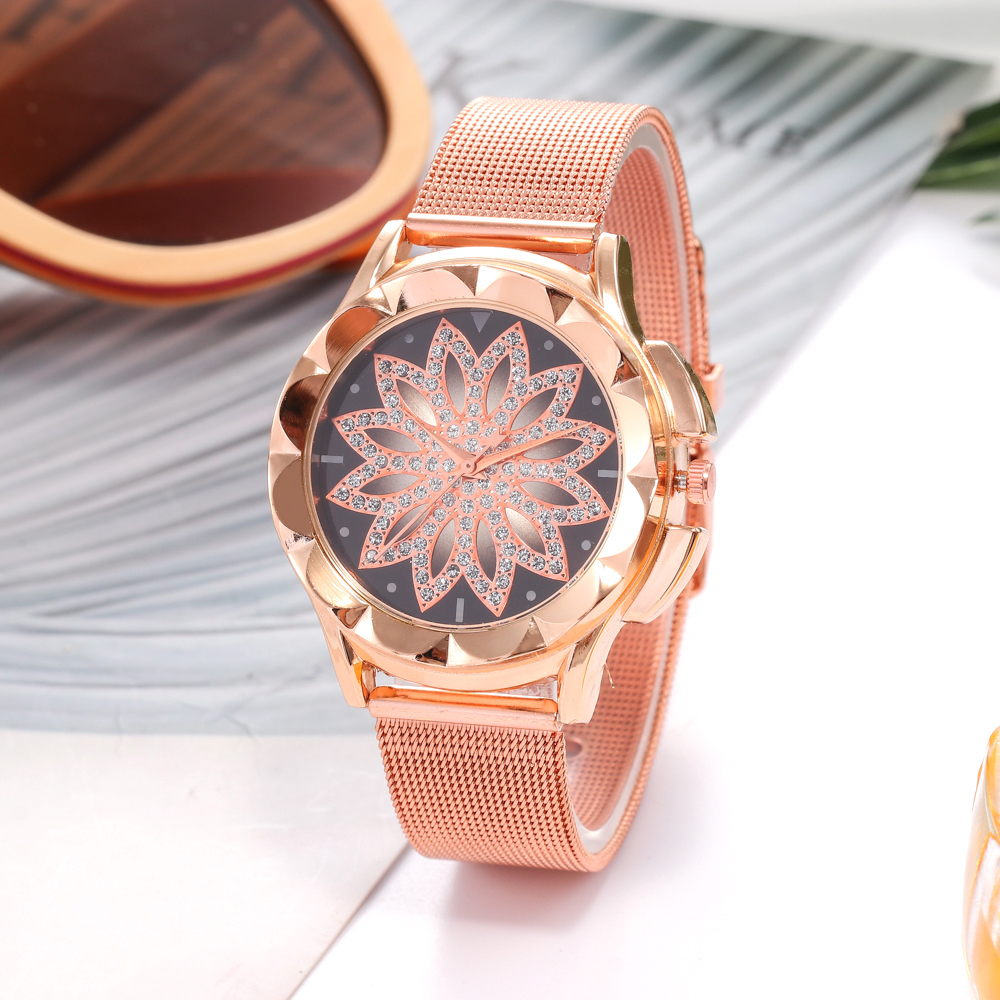 8ef0bbf2fe6 Novas Mulheres Da Moda Prata de Aço Inoxidável Relógio de pulseira de Ouro  de Malha Única