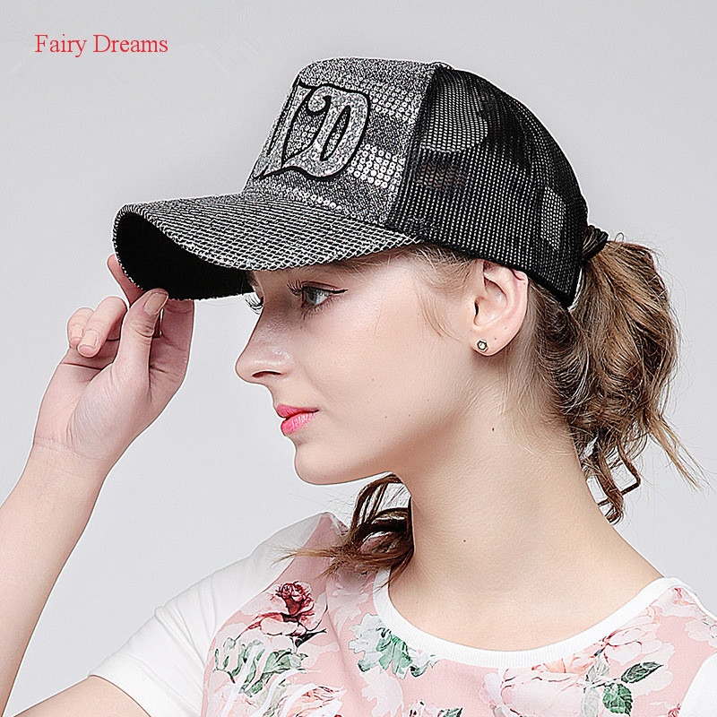 Fairy Dreams Brand Baseball Cap Women Letter Print Black Hip Hop Caps Gorras Casual Fashion Shadow Visor Sun Hats 2017 New Style 2016 new trend fashion casual compton snapback letters embroidery hats camouflage baseball caps bones hip hop caps for men women