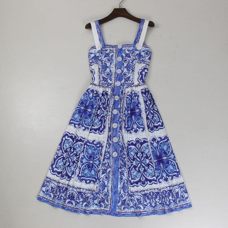 Nouveau 2018 printemps été mode femmes filles mignon porcelaine impression robe sans manches plissée spaghetti sangle robes décontractées bleu
