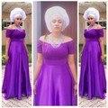 Новый Дизайн Фиолетовый Атласная С Плеча Линия Мать Невесты Платье С Коротким Рукавом Фиолетовый Свадебное Платье Партии