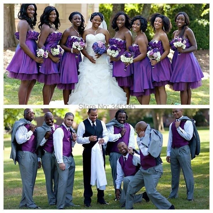 Deep Purple Knee Length Bridesmaid Dresses – fashion dresses