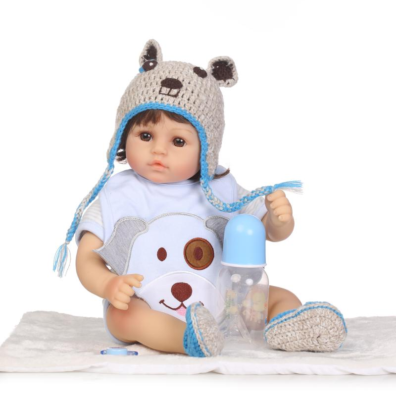 47cm Cotton Body Lifelike Cute Newborn Baby with Short Hair Limited Collection Gifts Silicone Reborn Baby Dolls