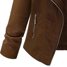 Plus Size Women's Brown Faux Leather Jacket