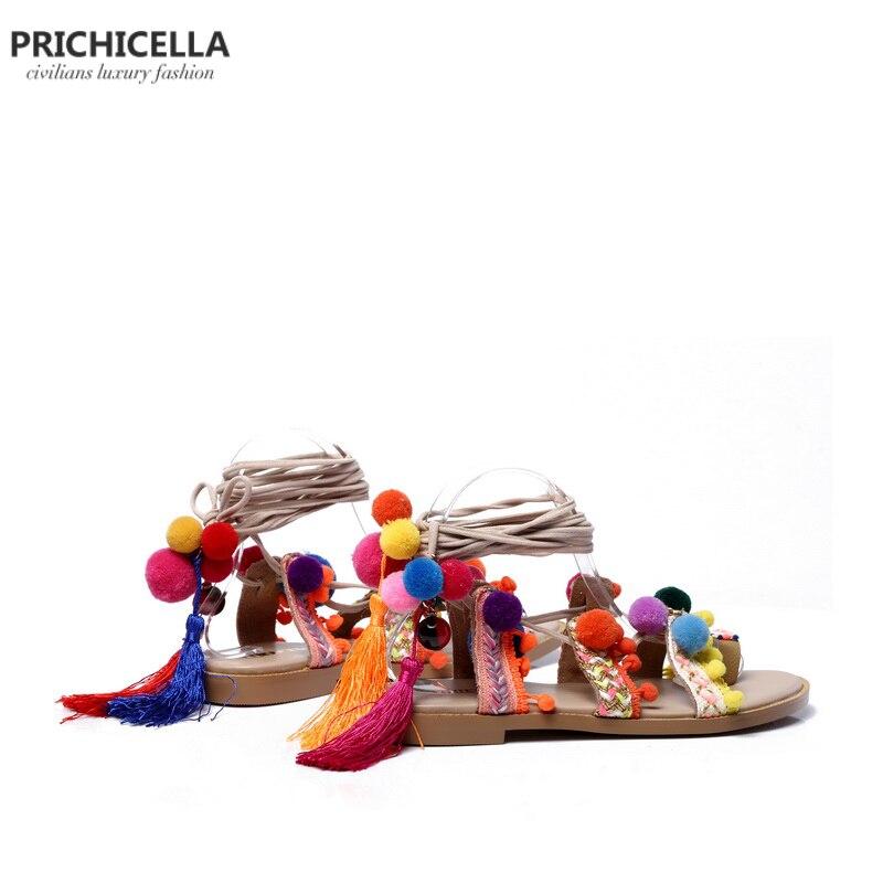 PRICHICELLAลูกไม้ขึ้นpom pomรองเท้าแตะหนังแท้นักรบแฟลตผู้หญิงฤดูร้อนรองเท้าขอบsize35 41-ใน รองเท้าแตะสตรี จาก รองเท้า บน   3