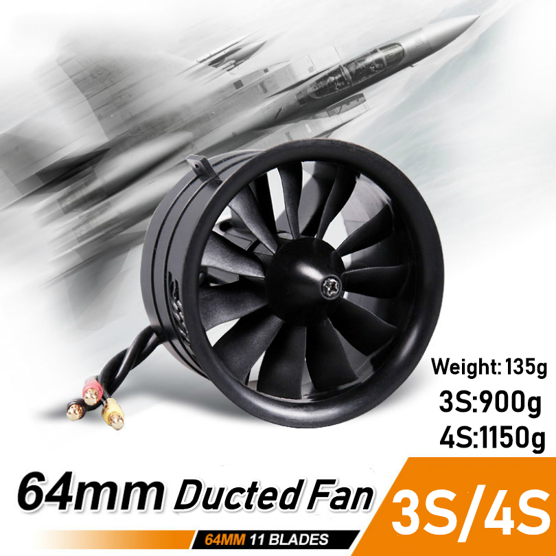 FMS 64mm Ducted Fan EDF Unit 11 blade With 2627 KV4500 (4S) / KV5400 (3S) Motor Engine For RC Airplane Model Plane Jet Parts image